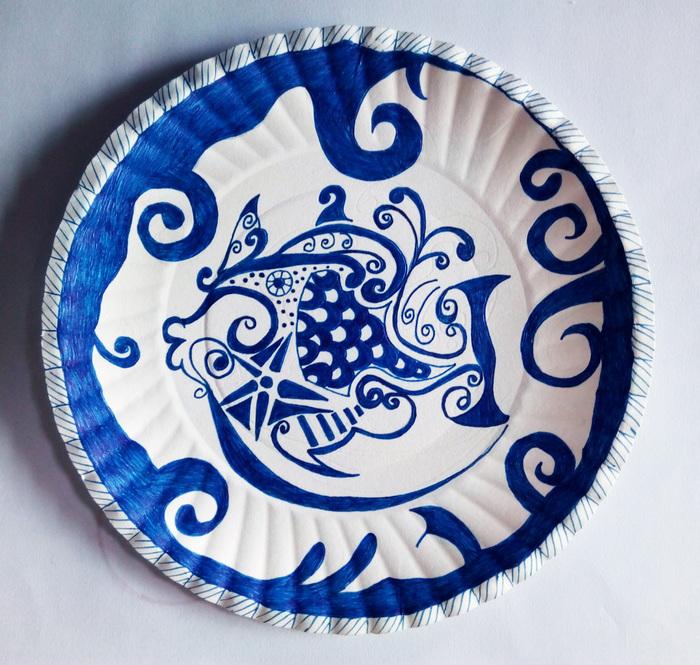 学生作品--青花瓷纸盘